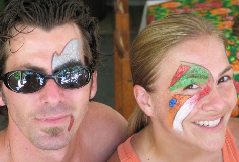 We found a restaurant that gave free face painting with lunch