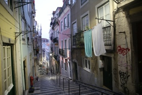 The steps leading up to our apartment in the Bica neighborhood of Lisbon